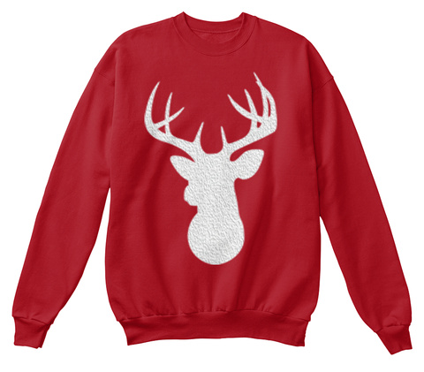 Ugly Christmas Reindeer Sweater Deep Red  T-Shirt Front