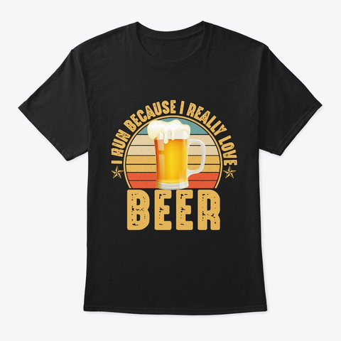 Vintage Funny Beer Drinking Running Black T-Shirt Front