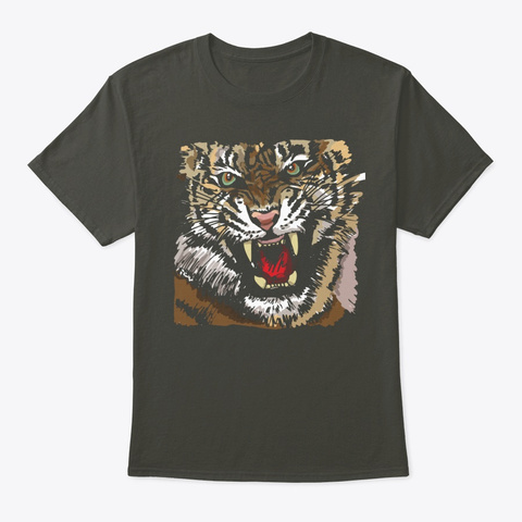 Awesome Graphic Tiger Smoke Gray T-Shirt Front