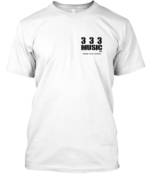 333 Music Llc (White Tee Small Logo) White T-Shirt Front