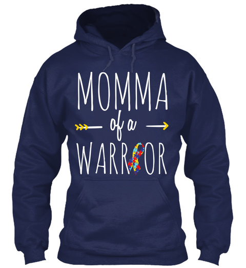 Momma Of A Warrior Navy T-Shirt Front