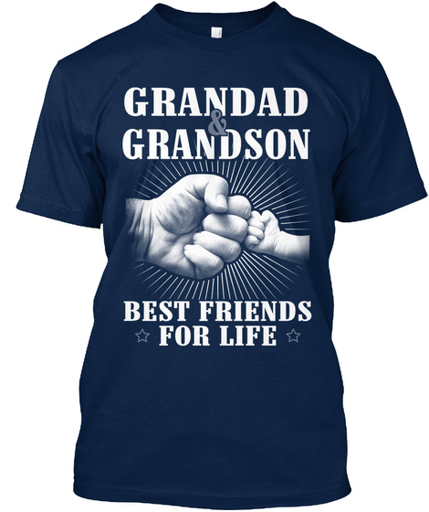 Grandad & Grandson Best Friends For Life Navy T-Shirt Front