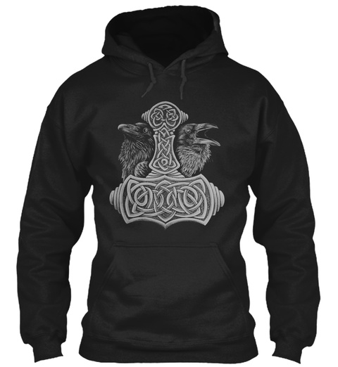 Mens Viking Hoodie   Wolf Of Odin Black T-Shirt Front