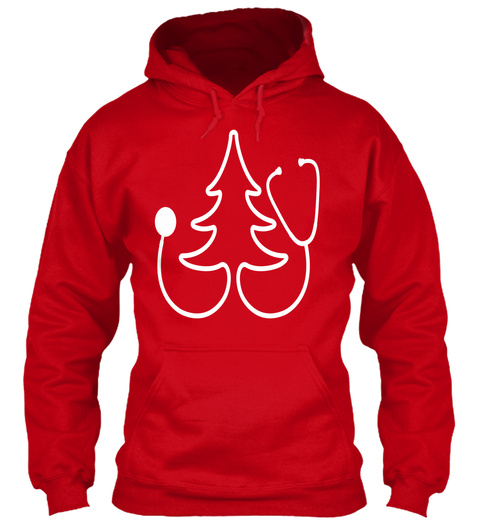 Stethoscope Christmas Tree Shirt Red T-Shirt Front