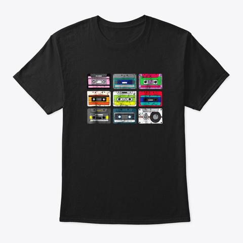 Cassette Tapes Mixtape T Shirt Vintage 8 Black T-Shirt Front
