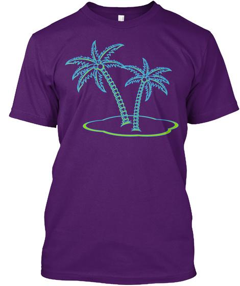 T Shirt Palm Trees Tropical Purple T-Shirt Front