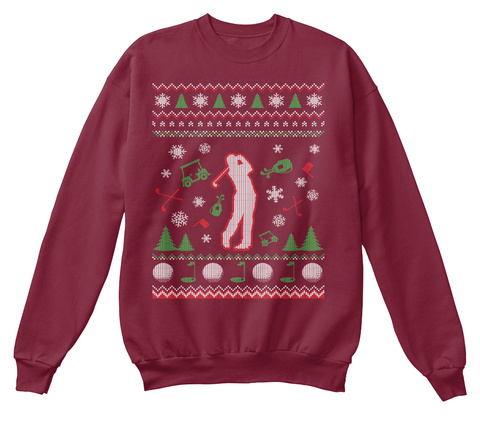 Christmas Ugly Golf Sweater Burgundy T-Shirt Front