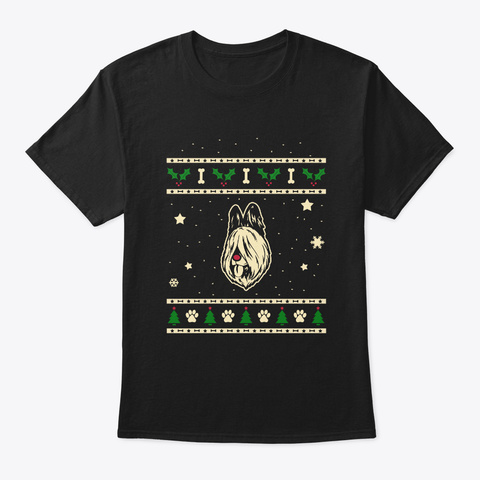 Christmas Briard Gift Black T-Shirt Front