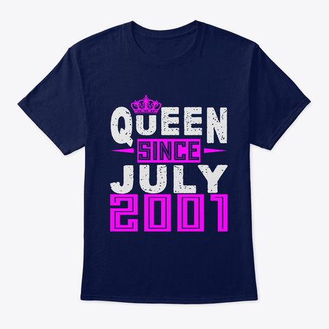 Queen Since July 2001 Birthday Gifts Navy T-Shirt Front