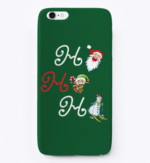 Ho, Ho, Ho Santa, Elf, Snowman Dark Green T-Shirt Front