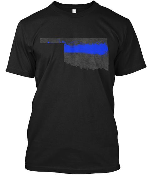 Oklahoma Blue Line Onyx Black T-Shirt Front