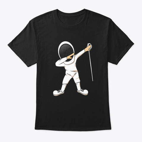 Funny Dabbing Fencing Sports  Black T-Shirt Front