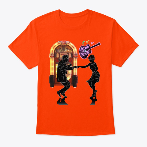 50's Rock And Roll Juke Box And Guitar Orange T-Shirt Front