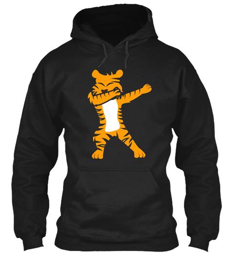 Dab Dabbing Tiger Novelty Tshirt Black T-Shirt Front