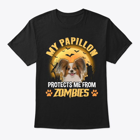Halloween Papillon Dog Lover Gift Black T-Shirt Front