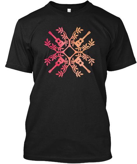 Hawaii Mele Music Quilt Ukulel Tattoo Black T-Shirt Front