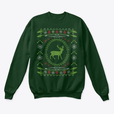Ugly Christmas Sweater Deer Hunting Deep Forest  T-Shirt Front