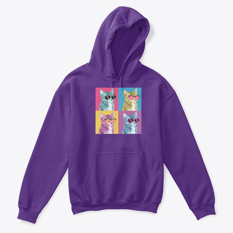 Cats Pop Art Style Purple T-Shirt Front