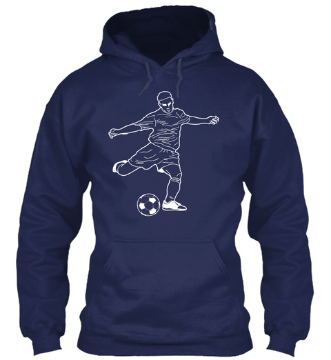 Hoodie Soccer Player Navy T-Shirt Front