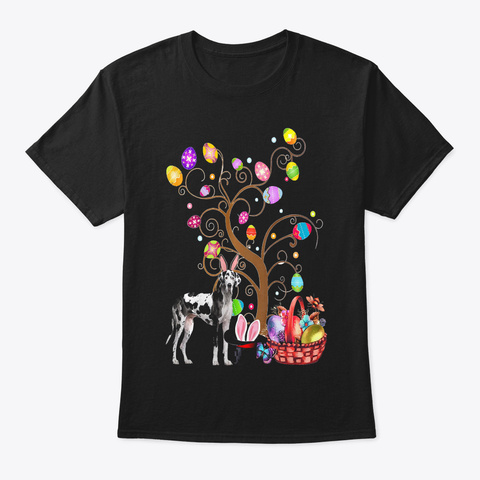 Bunny Great Dane Easter Day Hunting Egg  Black T-Shirt Front