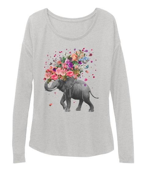 Elephant Splash Long Sleeve Athletic Heather T-Shirt Front