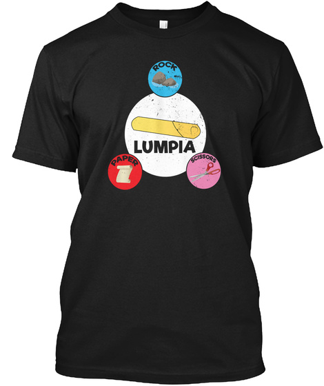 Lumpia Roll Game Rock Paper Scissors  Black T-Shirt Front