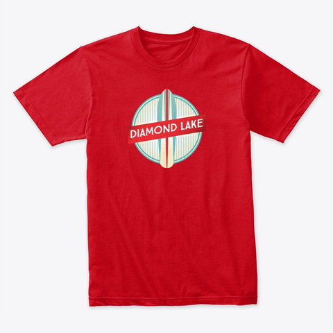 Diamond Lake   Surf Board Red T-Shirt Front