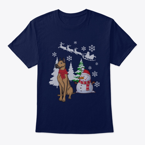 Dog Xmas   Christmas With Great Dane Navy T-Shirt Front