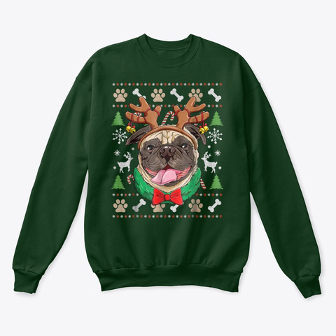 Pug Ugly Christmas Shirt Deep Forest  T-Shirt Front