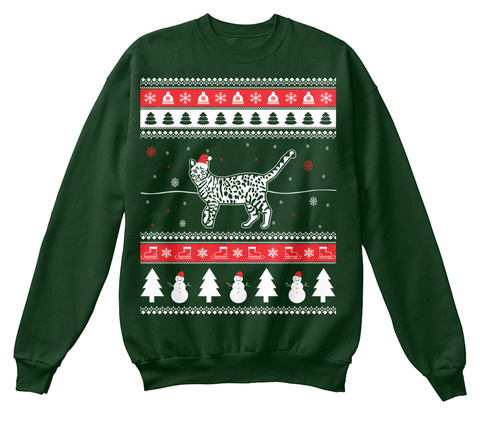 659bc8bf4a6dc Bengal Cat Ugly Christmas Sweater Deep Forest Sweatshirt Front