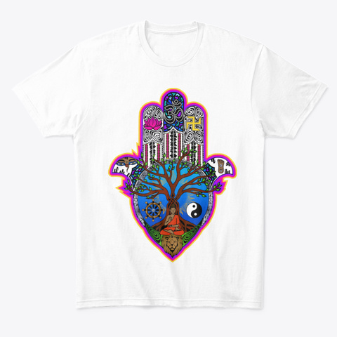 Buddhist Symbolism Apparel White T-Shirt Front