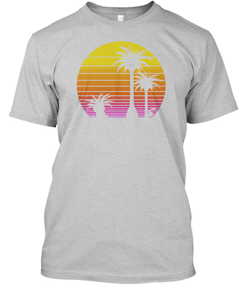 1980s Hawaiian Egg Trees Light Steel T-Shirt Front