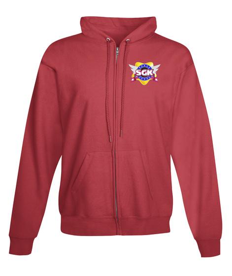 Sgk Zip Up Hoodie Deep Red Camiseta Front