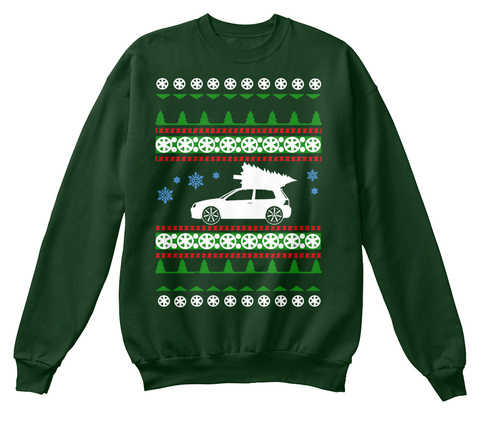 Golf R32  Ugly Christmas Sweater Deep Forest  T-Shirt Front