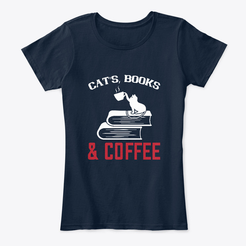 Cats, Books, & Coffee Tee New Navy T-Shirt Front