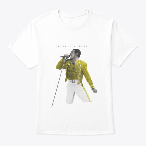 Freddie Mercury Official Yellow Jacket White T-Shirt Front