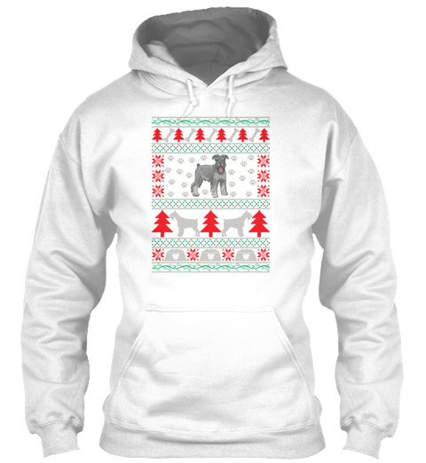 Schnauzer Ugly Christmas Sweater Holiday White T-Shirt Front