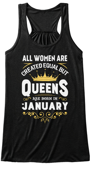 Queens Are Born In January Tank Top Black Women's Tank Top Front