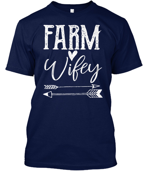 Farm Wifey Navy T-Shirt Front