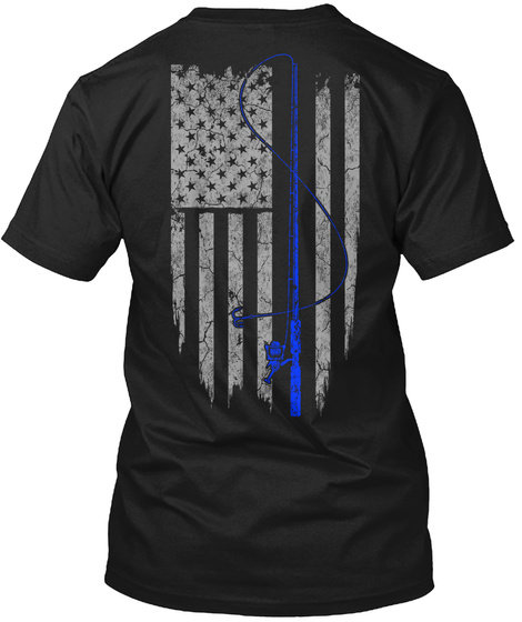 American Fishing Flag Shirt Black T-Shirt Back