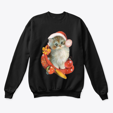 Adorable Cat Christmas Sweater Black T-Shirt Front