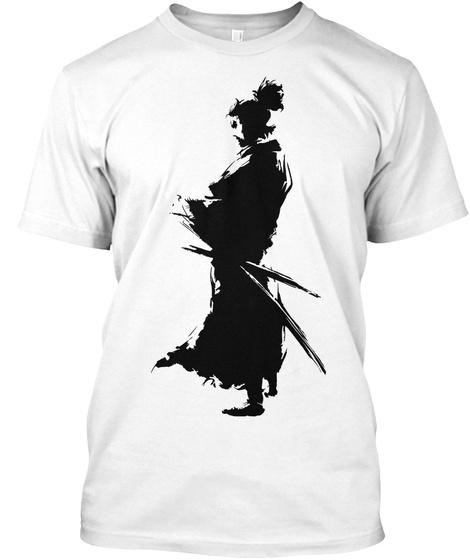 Samurai Silhouette White T-Shirt Front