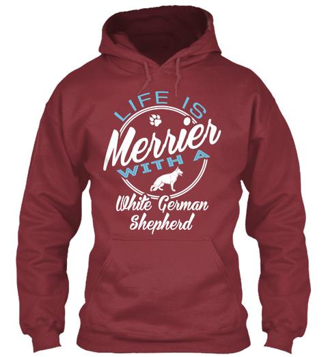 White German Shepherd Gift Shirt Maroon T-Shirt Front