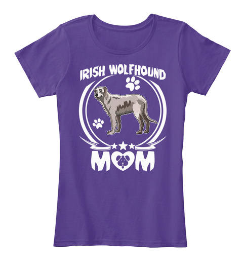 Irish Wolfhound Mom T Shirt Mothers Day Purple T-Shirt Front