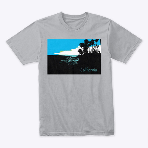 California Palms Ocean And Sky Heather Grey T-Shirt Front