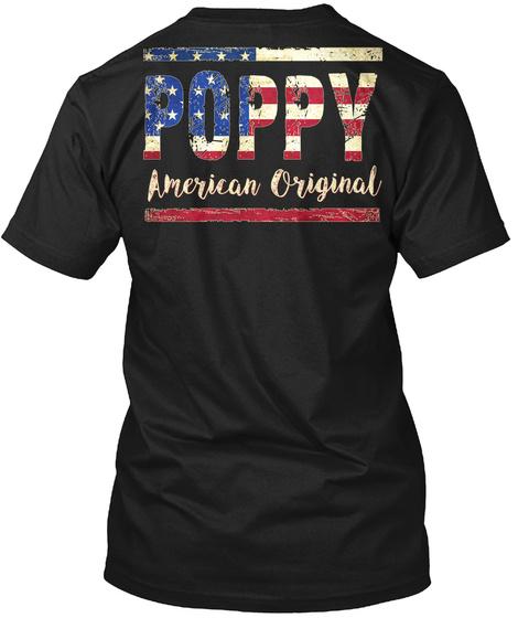 Poppy American Original Black T-Shirt Back
