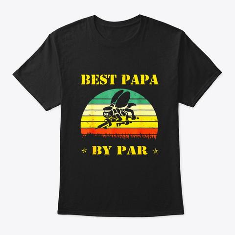 Best Papa By Par Seabee Veteran T Shirt Black T-Shirt Front