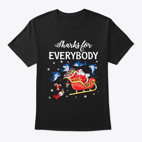 Merry Shark Christmas T Shirt Black T-Shirt Front