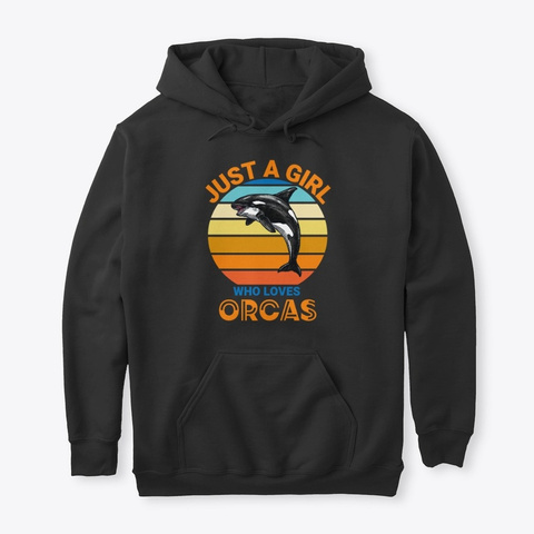 Just A Girl Who Loves Orcas Black Maglietta Front