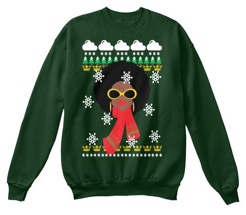 Ugly Sweatshirt Winter Scene Afro Queen  Deep Forest  T-Shirt Front